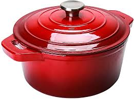 Amazon.com: Puricon 5.5 Quart Enameled Cast Iron Dutch Oven, Round Ceramic  Enamel Dutch Ovens Pot -Red: Kitchen & Dining